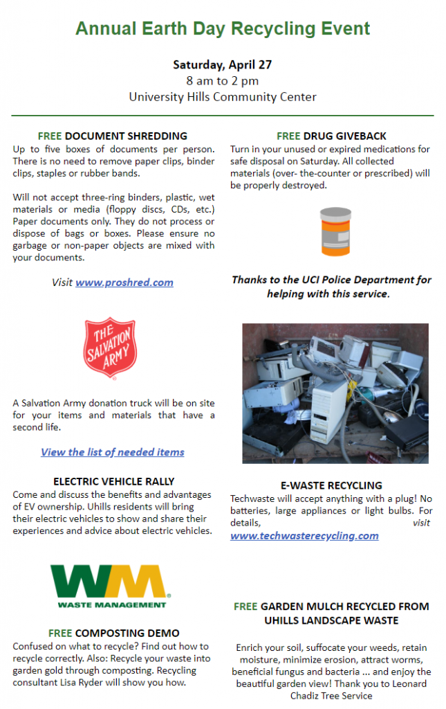 April 27: Earth Day Recycling Event & Repair Café